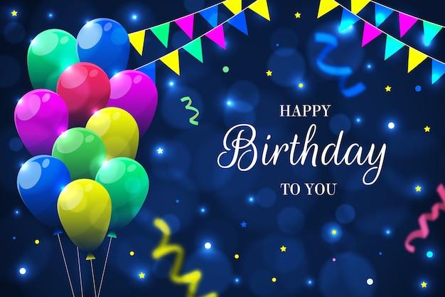 Sfondo di compleanno con palloncini e ghirlande Vettore gratuito
