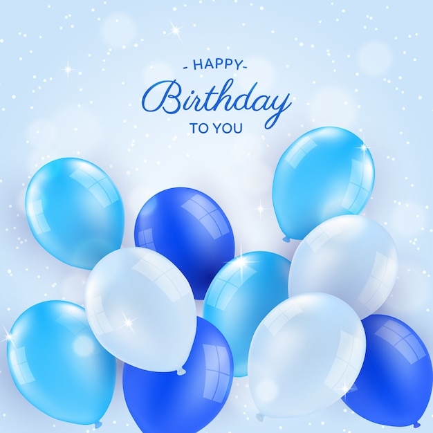 Birthday Background With Balloons In Realistic Style