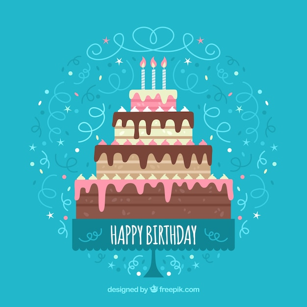 Birthday Background With Big Cake Vector Free Download