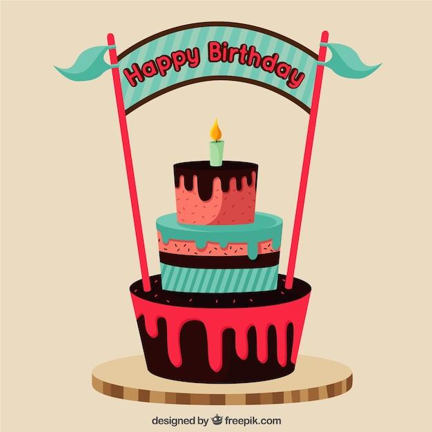 Birthday background with birthday cake