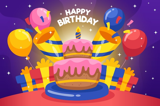 Birthday Background With Cake And Balloons Free Vector