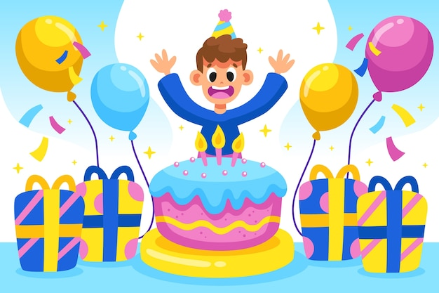 Birthday Background With Cake And Boy Free Vector