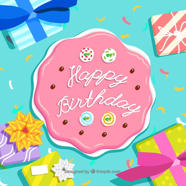 Birthday background with cake design