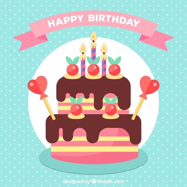 Birthday Background With Cake In Flat Design Vector Free