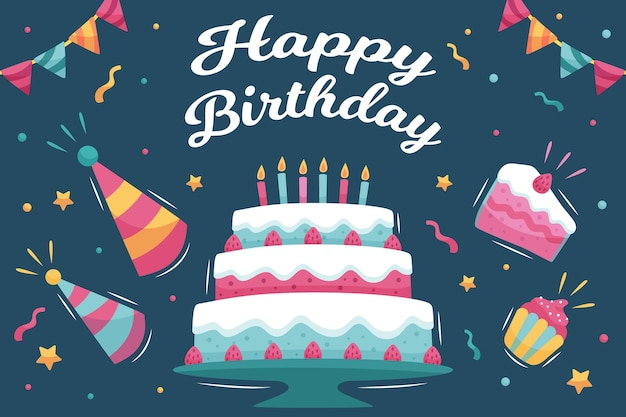 Birthday background with cake and hats Free Vector