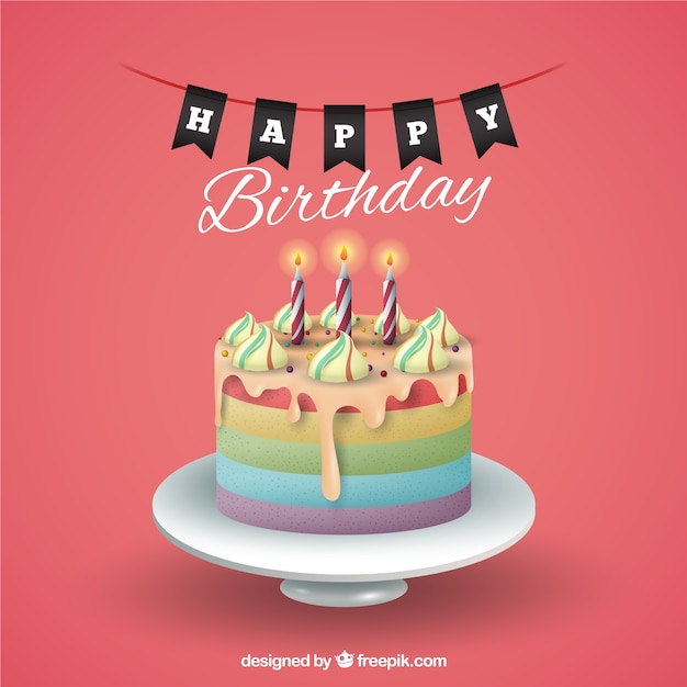 Happy Birthday Card Freepik ~ Birthday background with cake vector free download