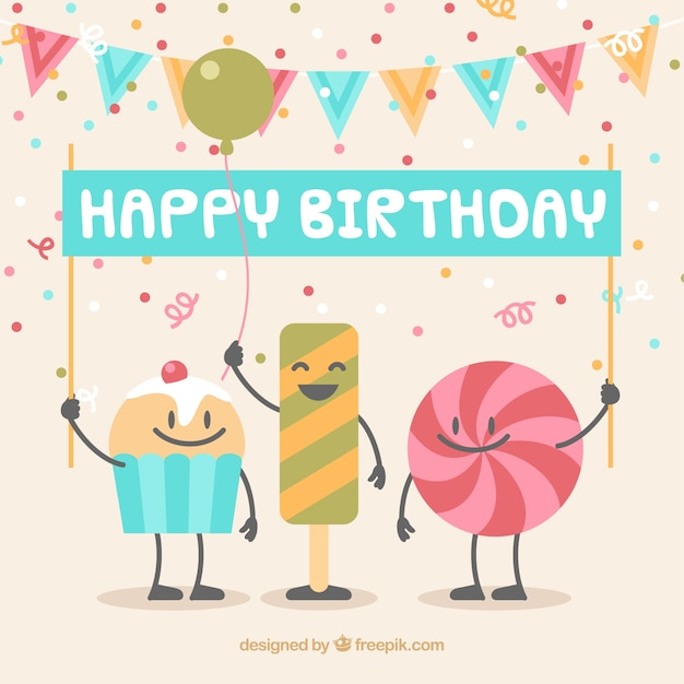 Birthday background with candy Free Vector