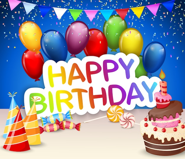 Birthday background with colorful balloon and birthday cake Premium Vector