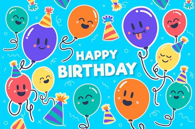 День рождения фон с разноцветными шарами Premium векторы