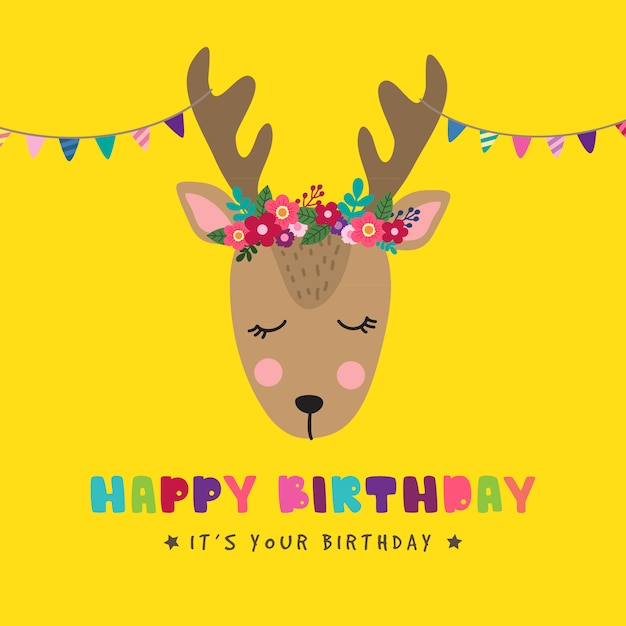 Birthday background with cute deer Premium Vector