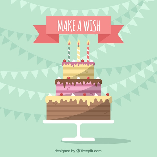 Birthday Background With Delicious Cake In Flat Design Vector Free