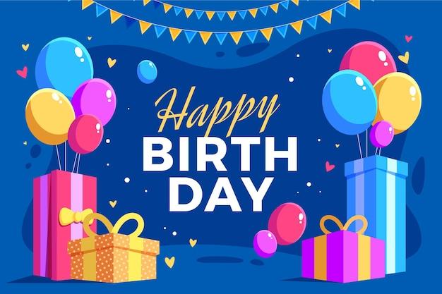 День рождения фон с подарками и воздушными шарами Premium векторы