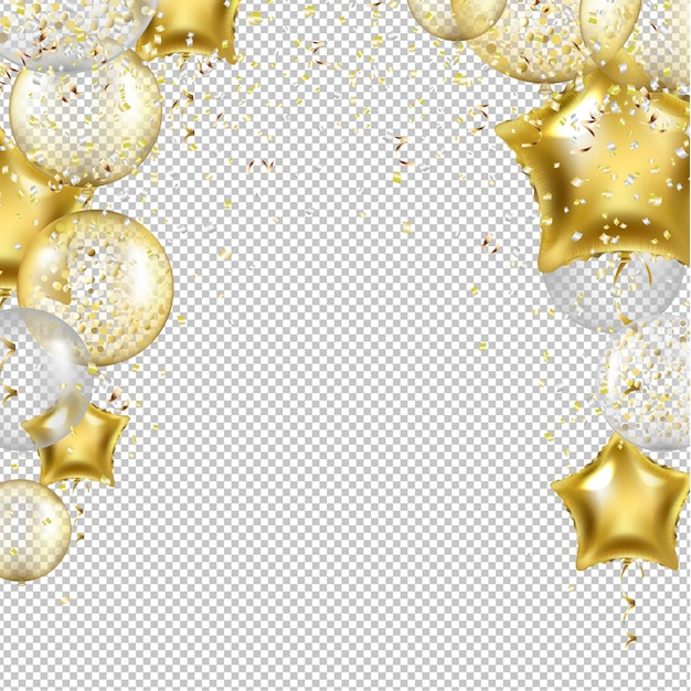 Birthday background with golden star balloons Premium Vector