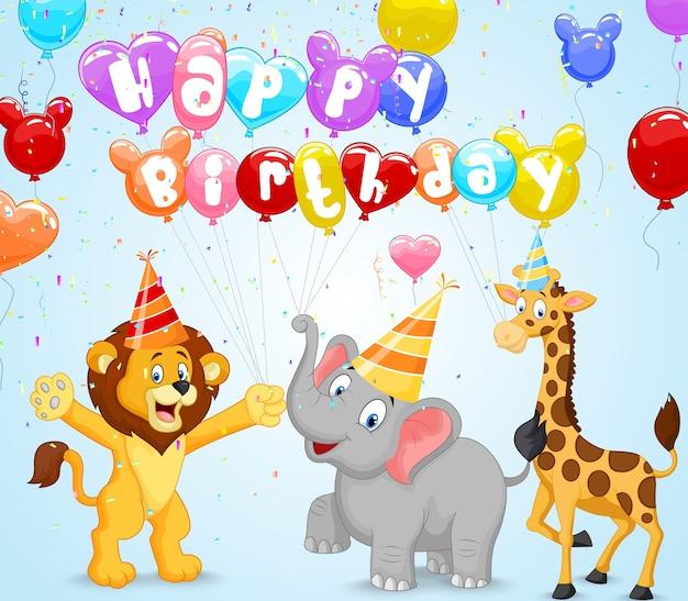 Birthday background with happy animals Premium Vector