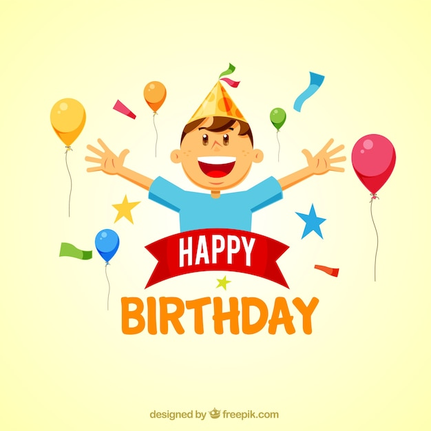 Birthday Background With Happy Boy Vector Free Download