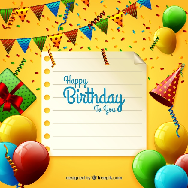 Birthday background with party elements Free Vector