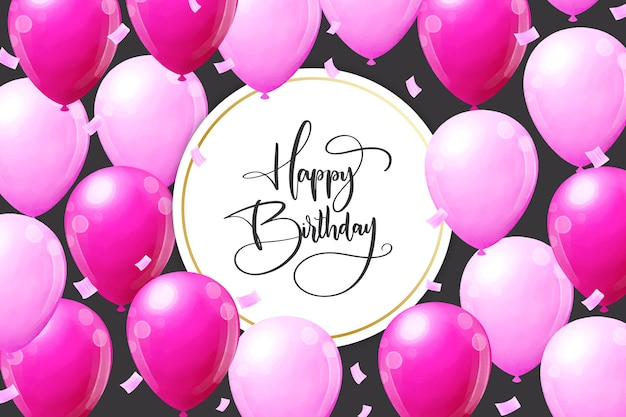 Birthday background with pink balloons Free Vector