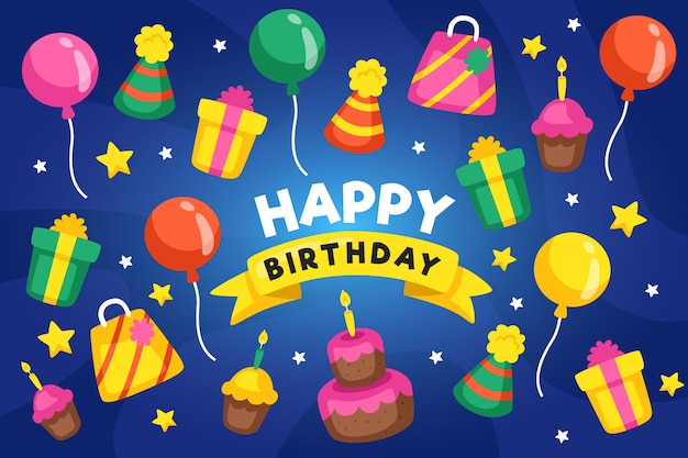 Birthday background with presents and balloons Free Vector
