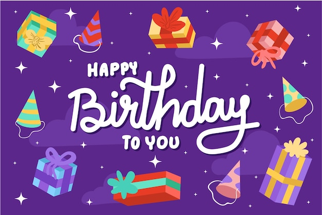 Birthday background with presents Free Vector