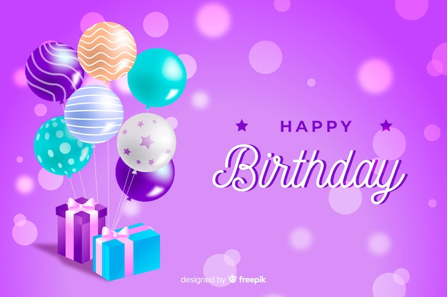 Birthday background with realistic balloons Free Vector