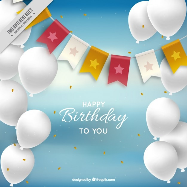birthday background with white balloons vector free download