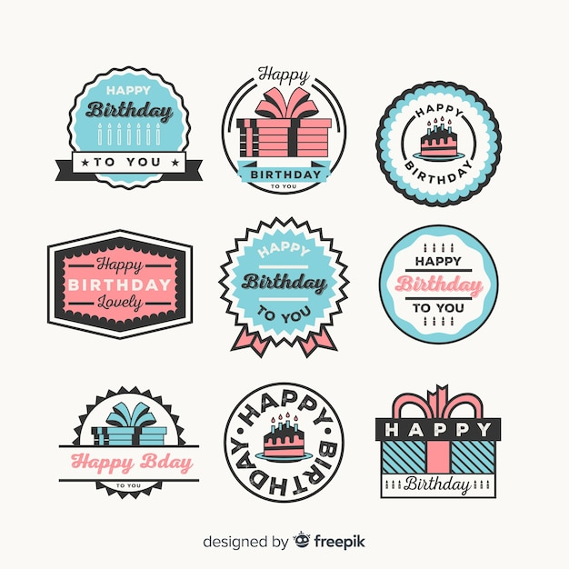 Birthday badge collection Free Vector