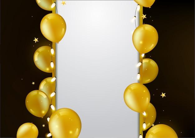 Birthday Balloon Background Premium Vector