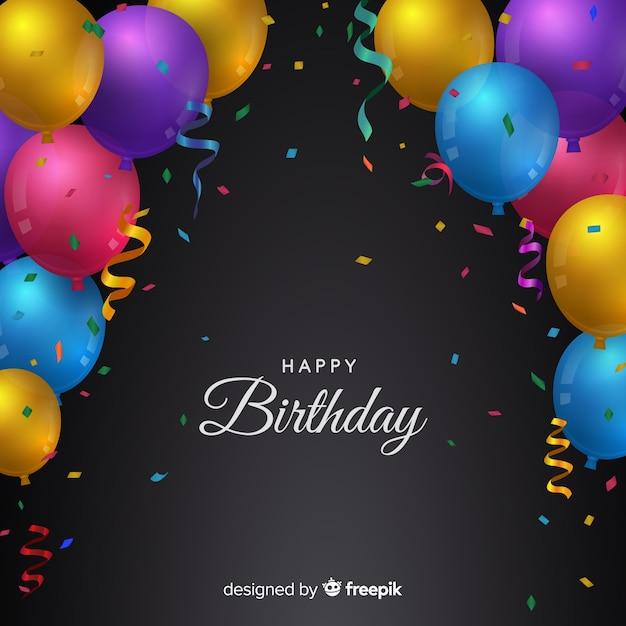 Birthday Balloons Background Free Vector