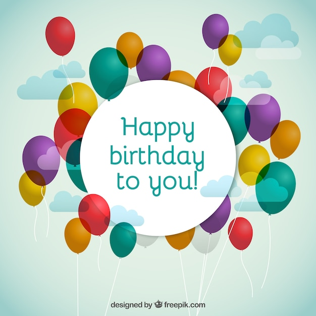 Birthday balloons with happy birthday greeting Vector – Birthday Greeting Pictures Free