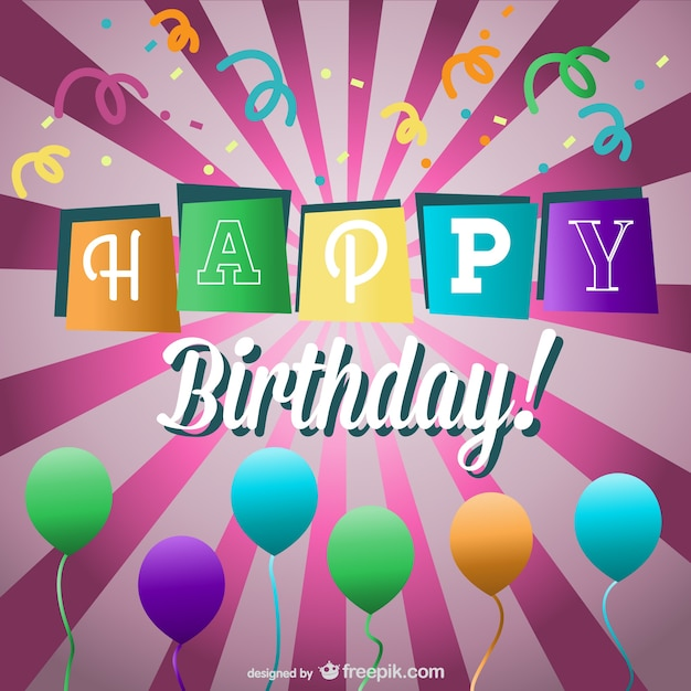 birthday banner and balloons over sunburst vector free download