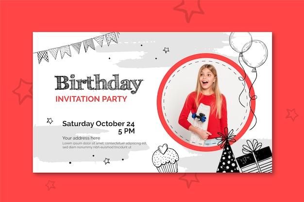 Modello di banner di compleanno con foto Vettore gratuito