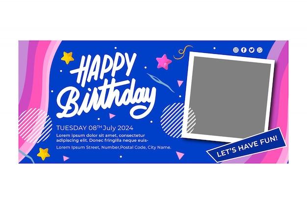 Modello di banner di compleanno Vettore gratuito