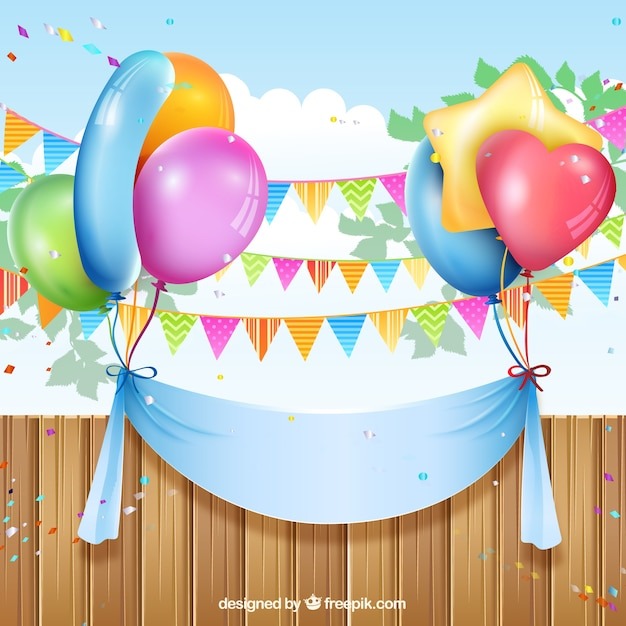 Birthday Banner With Balloons And Buntings Vector