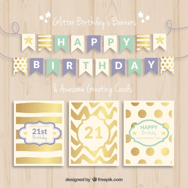 Birthday Banners And Cards Vector