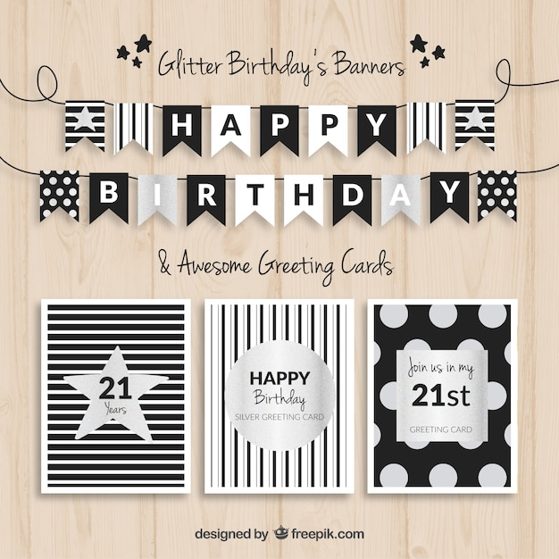 Birthday banners and cards black and silver Free Vector