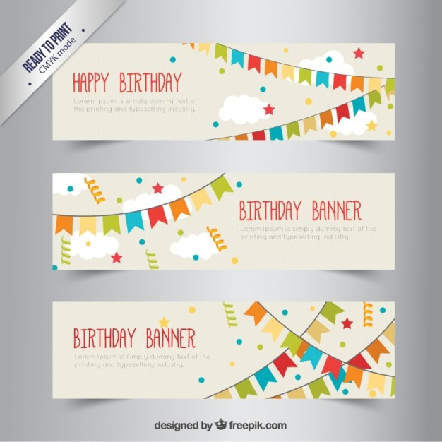 Birthday banners with bunting Free Vector
