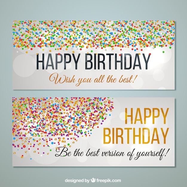 Birthday banners with colorful confetti