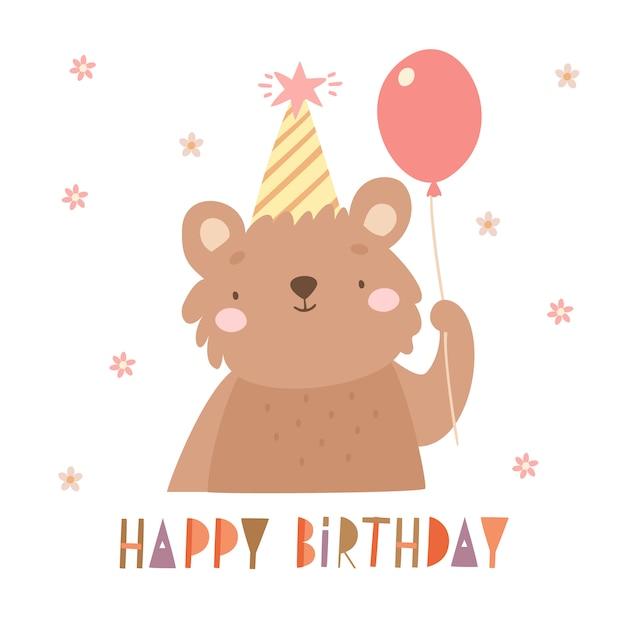 День рождения медведя Бесплатные векторы