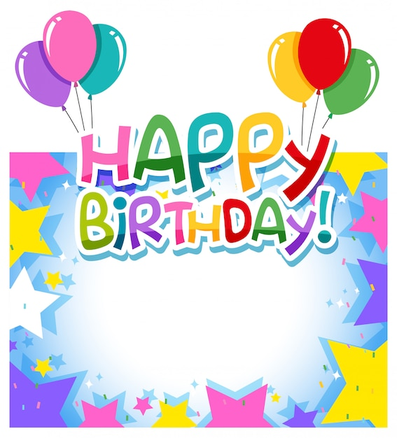 A birthday border template Free Vector