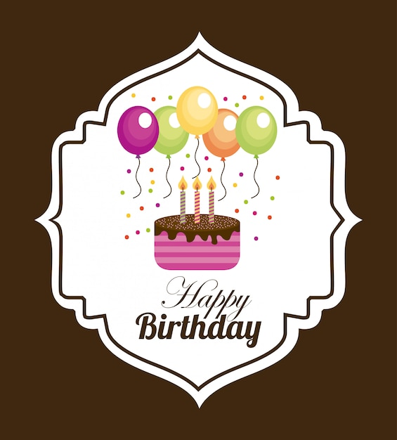 Birthday over brown background Free Vector