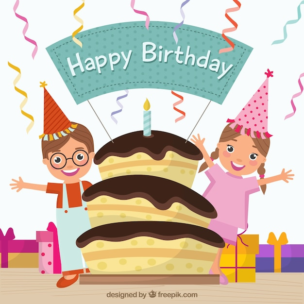 Birthday cake and kids Vector Free Download