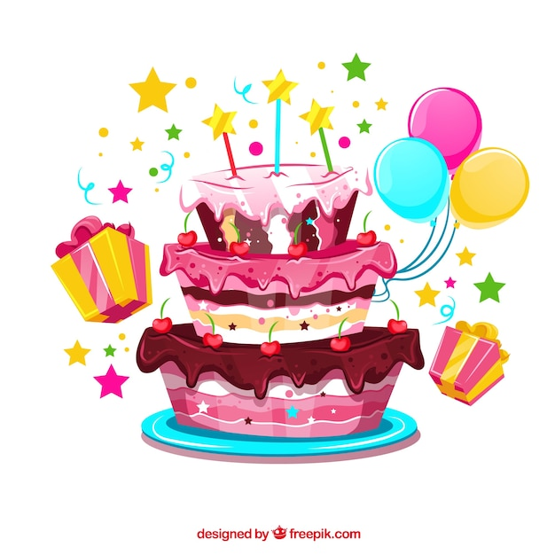 Birthday cake background with balloons and\ gifts
