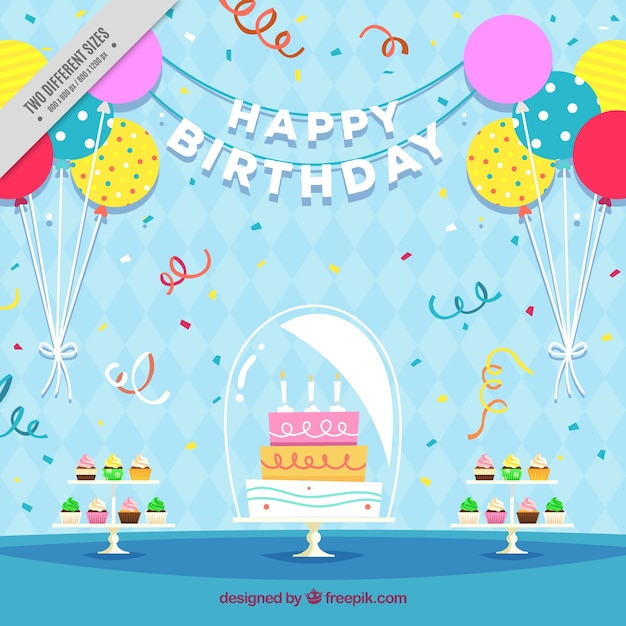 Birthday cake background with balloons in flat design Vector Free