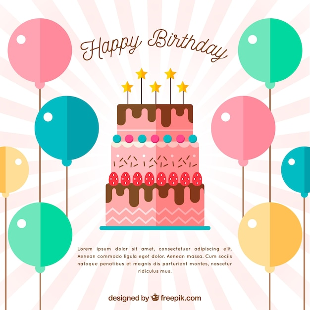 Download Vector - Birthday cake background with balloons in