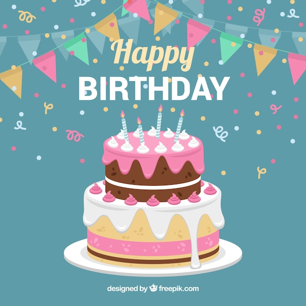 Magnificent Birthday Cake Background With Garland Free Vector Personalised Birthday Cards Veneteletsinfo