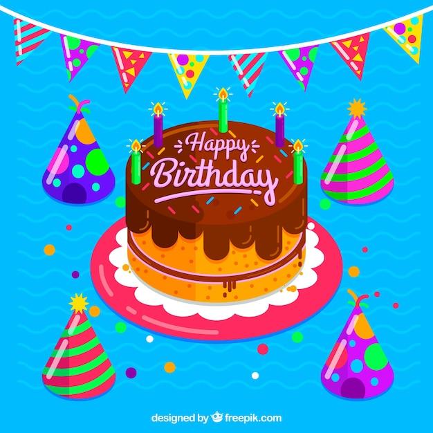Marvelous Download Vector Birthday Cake Background With Hats Vectorpicker Funny Birthday Cards Online Elaedamsfinfo