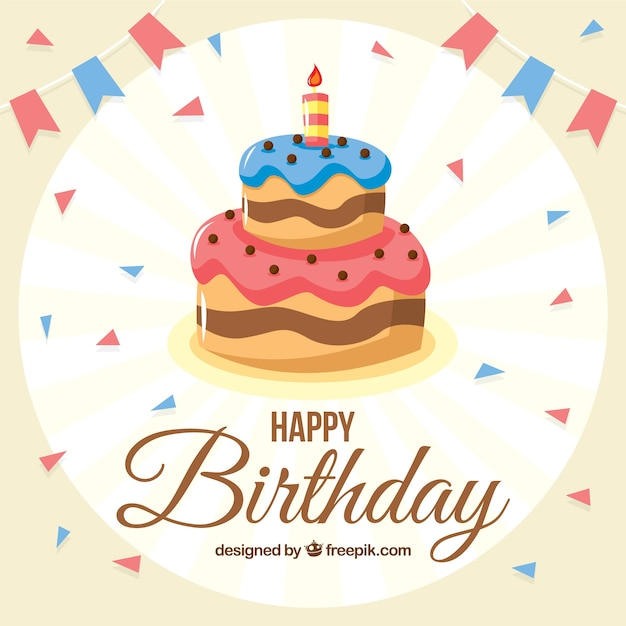 Birthday cake background Vector Free Download
