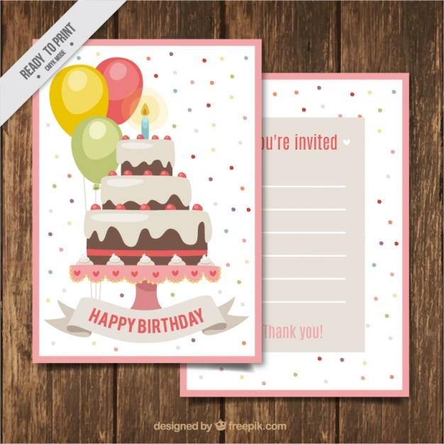 Birthday cake card with colored dots