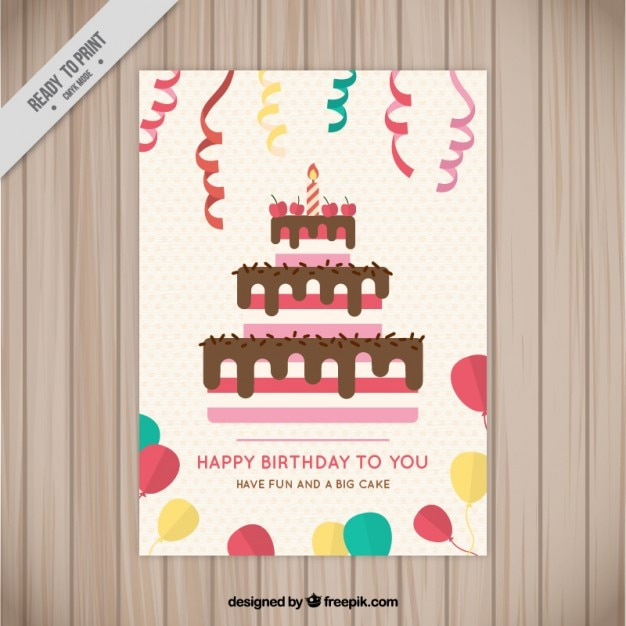 Birthday cake card with streamer and\ balloons