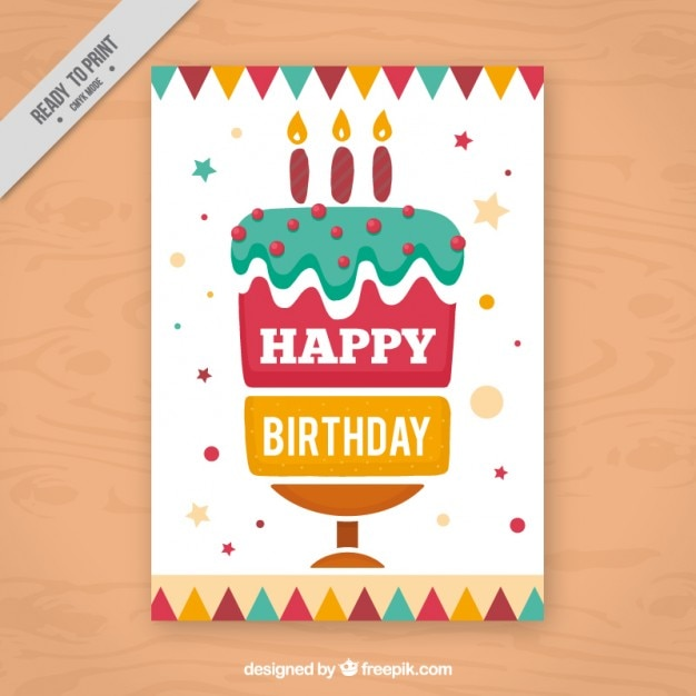 Birthday cake card Vector Free Download